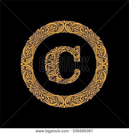 Premium, Elegant Capital Letter C In A Round Frame Is Made Of Floral Ornament. Baroque Style.elegant
