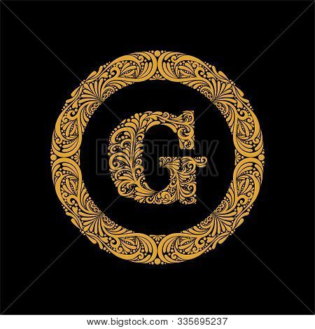 Premium, Elegant Capital Letter G In A Round Frame Is Made Of Floral Ornament. Baroque Style.elegant