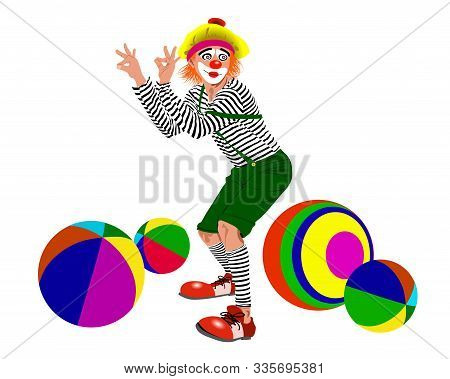 Figure Of A Clown In Striped Clothes And Colored Balls. - Vector Illustration