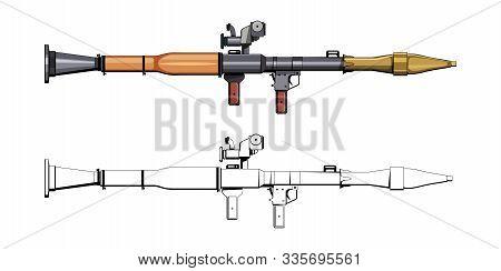 Rocket Propelled Grenade. Rpg. Firearms. Colorful Image Set. Rpg Anti-tank Rocket Launcher. Sniper S