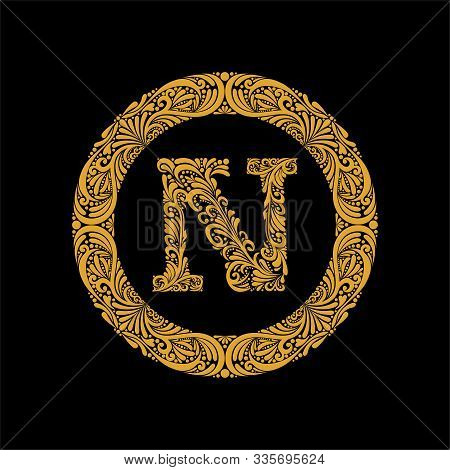 Premium, Elegant Capital Letter N In A Round Frame Is Made Of Floral Ornament. Baroque Style.elegant