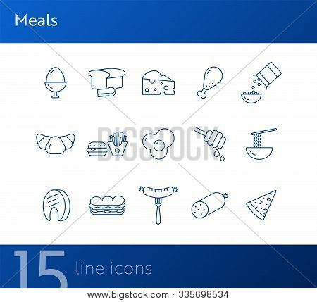 Meals Line Icon. Set Of Line Icons. Sausage, Bread, Fried Egg. Food Concept. Vector Illustration Can