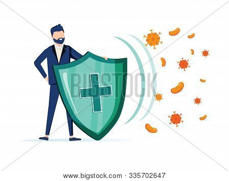 Immune System Vector Icon Logo. Health Bacteria Virus Protection. Medical Prevention Human Germ. Man