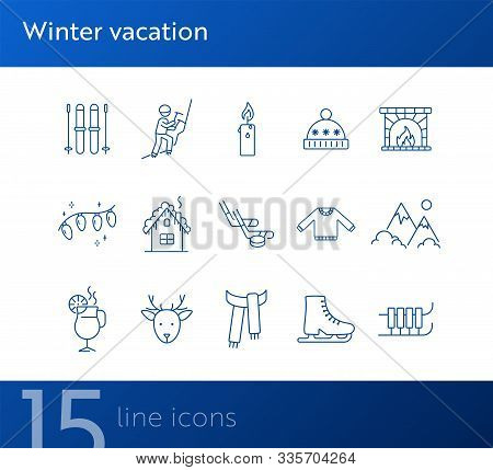 Winter Vacation Line Icon Set With House And Fireplace. Fairy Lights, Ice Hockey, Mountain. Hello Wi