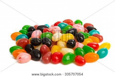 Jelly Beans Fruity Isolated On White Background
