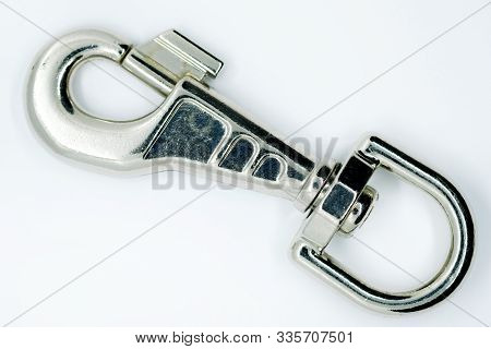 Metal Carabiner For Collars Made Of Silumin. Big Strong Carabiner Color Nickel Isolated On A White B