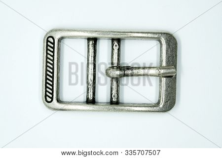 Square Nickel-plated Buckle With A Flat Tongue On A White Background. Chrome Metal Fittings Hardware