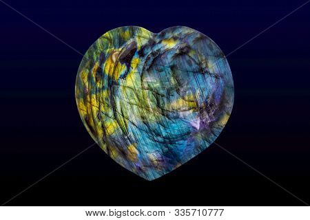 Beautiful Natural Labradorite In Heart Shape. Close Up
