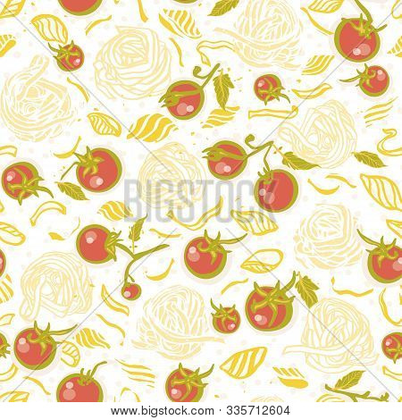 Vector Homemade Delicious Hand Drawn Noodle Pattern On Spotted Background In Pastel Tones With Tomat
