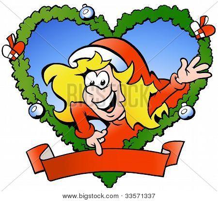 Hand-drawn Vector Illustration Of An Happy Santa Girl