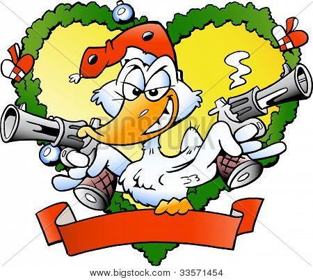 Hand-drawn Vector Illustration Of An Angry Christmas Duck