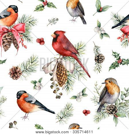 Watercolor Christmas Birds And Plants Seamless Pattern. Hand Painted Cardinal, Robin, Bullfinch And