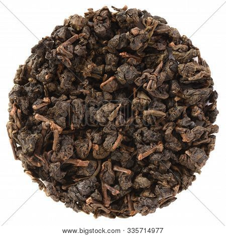 Organic Tea Leaves Placed In Round Shape. Paguashan Wu Yi Natural Farming Overlord Charcoal Roasted