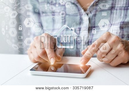Concept Of Internet Of Things. Woman Working On Phone Internet Of Things
