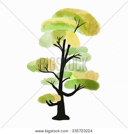 Tree Vector Illustration. Hand Drawn Watercolor Painting. Deciduous Trees. Ecotourism Design Element