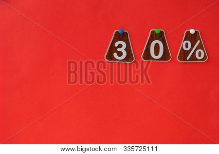 selling 30 percent. Big sale 30%, thirty percent on pink background for flyer, poster, shopping, sign, discount, marketing, sale, banner, website, headline