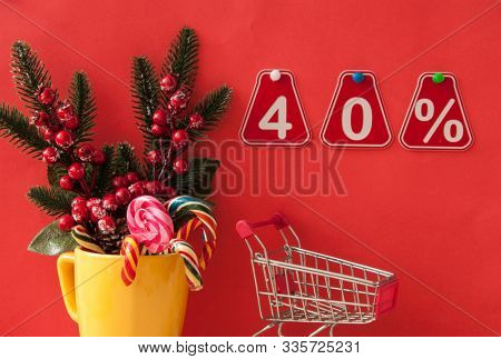 selling 40 percent. Big sale 40%, forty percent on pink background for flyer, poster, shopping, sign, discount, marketing, sale, banner, website, headline