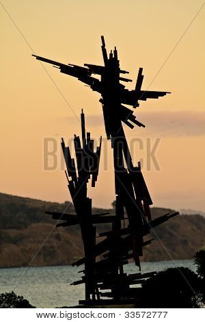 Harbor sculpture with an abstract shape in SF poster