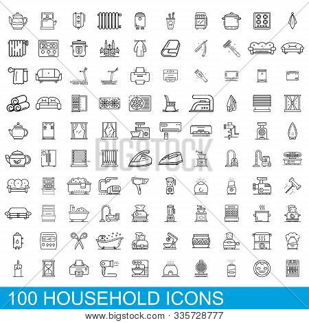 100 Household Icons Set. Outline Illustration Of 100 Household Icons Vector Set Isolated On White Ba