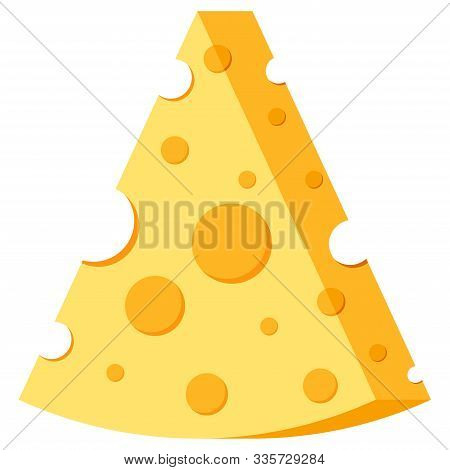 Triangle Shape Cheese Vector Icon Isolated On White Background. Cheese Concept. Triangular Slice Of