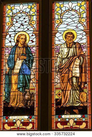 San Antonio, Texas - October 6, 2019 Saints John Mark Gospel Writers Stained Glass San Fernando Cath