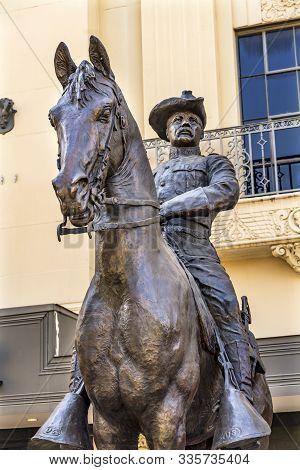San Antonio, Texas - October 6, 2019 Theodore Roosevelt Statue Alamo Square San Antonio Texas. Creat