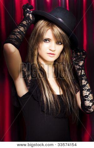 Beautiful Costumed Young Showgirl