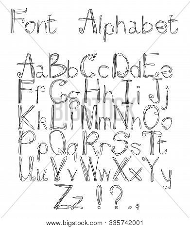 Vector Illustration With Alphabet Drawn Using Multiple Lines. There Are Punctuation Marks.