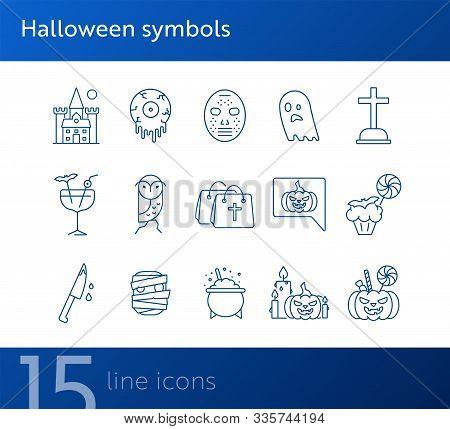 Halloween Symbols Line Icons. Owl, Castle, Crossed Bones. Halloween Concept. Vector Illustration Can