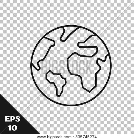 Black Line Earth Globe Icon Isolated On Transparent Background. World Or Earth Sign. Global Internet
