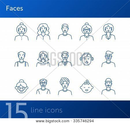 Faces Icons. Set Of Line Icons On White Background. Young Man, Boy, Mid Adult Man. People Concept. V