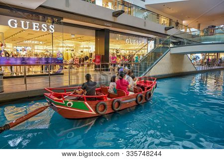 SINGAPORE - CIRCA APRIL, 2019: view of a canal at the Shoppes at Marina Bay Sands. A canal runs through the length of the shopping mall.