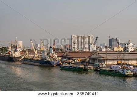 Ho Chi Minh City, Vietnam - March 13, 2019: Downtown Port On Song Sai Gon River At Sunset. Toyo Eagl