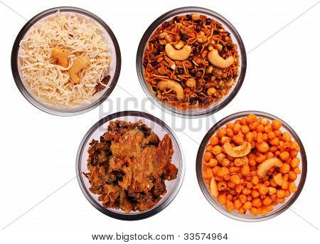 Traditional Indian Salty And Spicy Snacks In Bowls