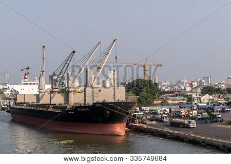 Ho Chi Minh City, Vietnam - March 13, 2019: Downtown Port On Song Sai Gon River At Sunset. Black And