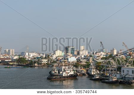 Ho Chi Minh City, Vietnam - March 13, 2019: Downtown Port On Song Sai Gon River At Sunset. Group Of