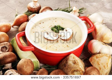 Fresh Delicious Mushroom Soup With Fresh And Healthy Champignons