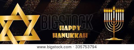 Jewish Holiday Hanukkah Design With Star Of David, Menorah. Traditional Chanukah Symbols Isolated On