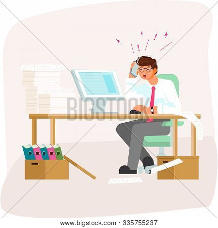 Tired Employee Having A Lot Work. Speaking By Telephone And Simultaneously Searching On Computer Inf