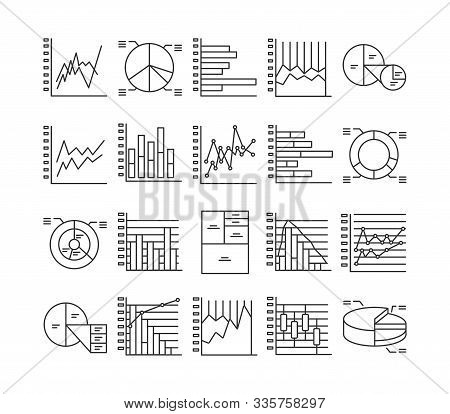 Graph And Diagram Line Black Icons Set. Including Clustered Column, Stacked, Bar, Line, Marked, Area