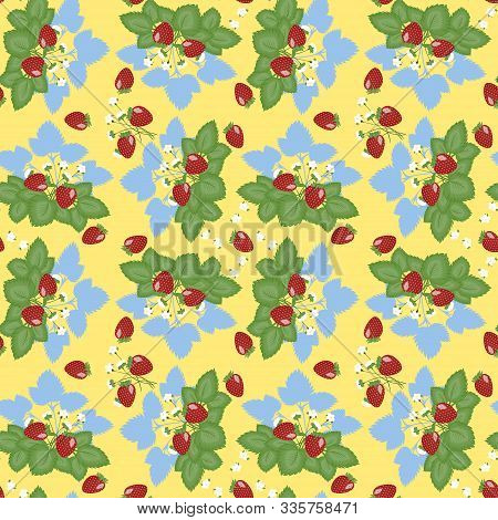 Geometric Seamless Pattern - Strawberry Bush On A Yellow Background.