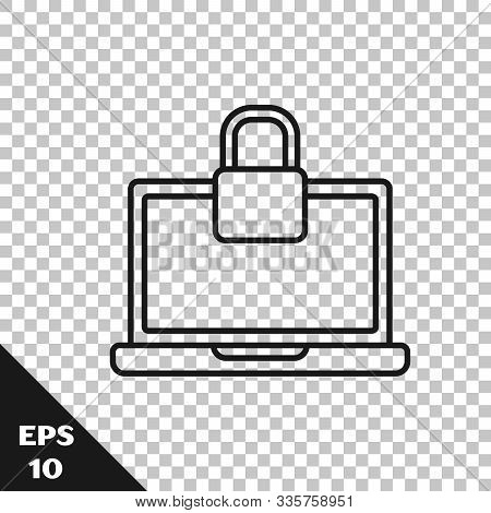 Black Line Laptop And Lock Icon Isolated On Transparent Background. Computer And Padlock. Security,