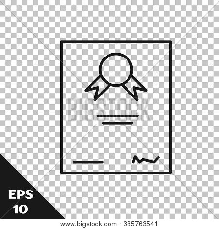 Black Line Certificate Template Icon Isolated On Transparent Background. Achievement, Award, Degree,