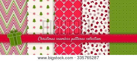Christmas Seamless Patterns Collection. Vector Set Of Winter Holiday Background Swatches. Cute Moder