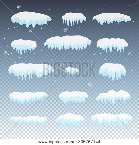 2020 Snow Caps Snowballs, Icicles, Snowdrifts Ice Set. Snow Cap, Capped Mountains, Vector
