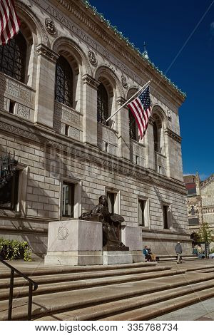 Boston, Massachusetts - October 3rd, 2019:  Exterior Of Boston Public Library At Copley Square In Th