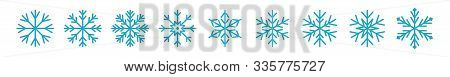 Set Of Icy Snowflakes Symbol Vector Illustration. Blue Line Frozen Snowflake Isolated On White Backg