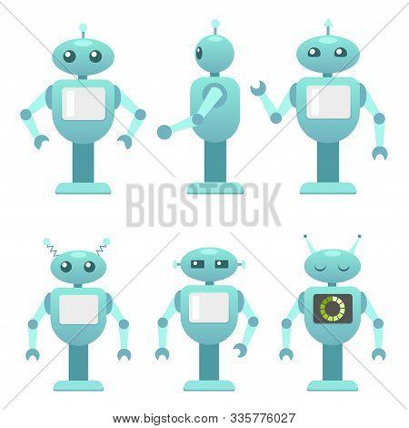 Different Robots Set. Robo Advisor, Helper, Consultant. Smart Robot. Mechanic Machine, Personal Robo