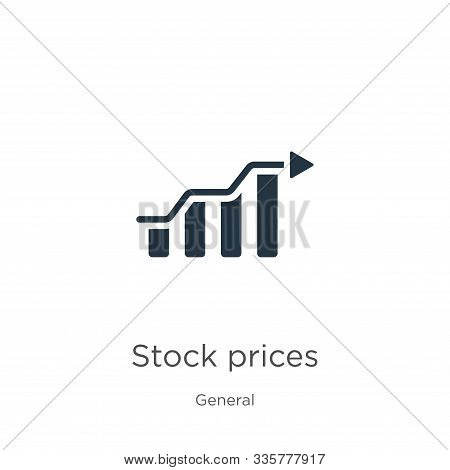 Stock Prices Icon Vector. Trendy Flat Stock Prices Icon From General Collection Isolated On White Ba