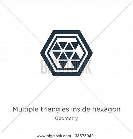 Multiple Triangles Inside Hexagon Icon Vector. Trendy Flat Multiple Triangles Inside Hexagon Icon Fr